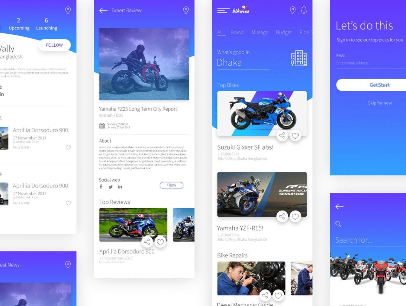 Bikers App UI Kit — UI Kits on UI8   App Design   Ui kit