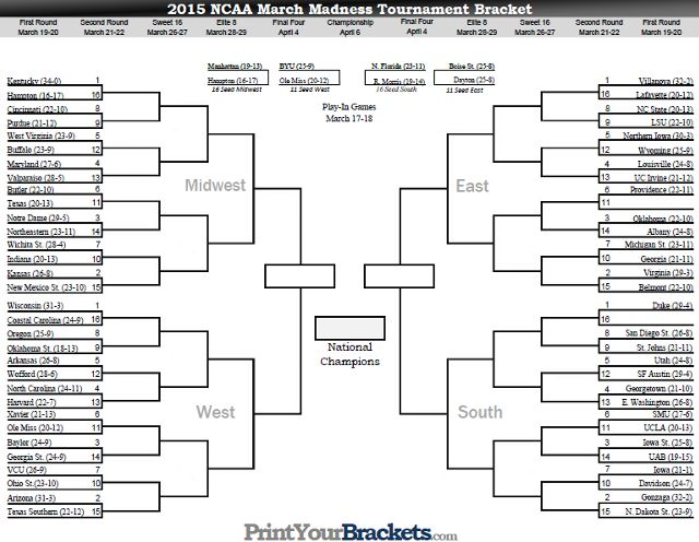 Printable March Madness Bracket 2015 Men S Ncaa Tourney Bracket March Madness Bracket Ncaa Bracket Ncaa March Madness