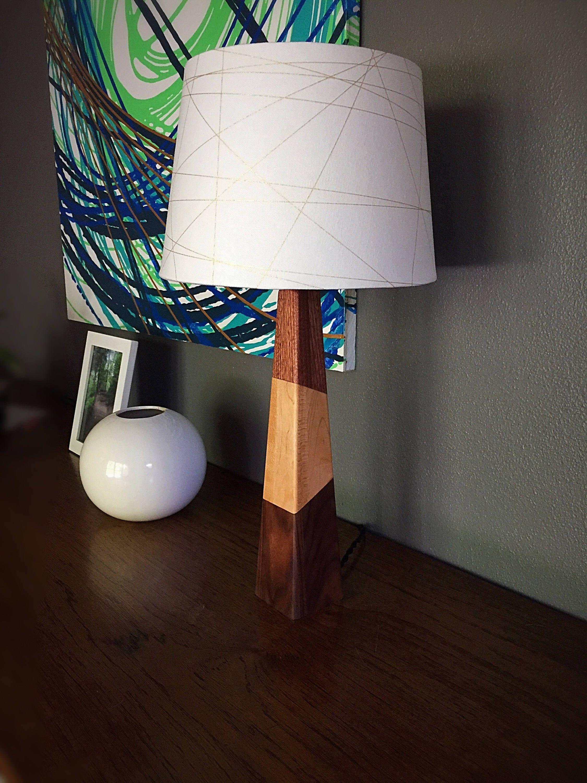 Modern wood table lamp triple wood by blackhallwoodworks