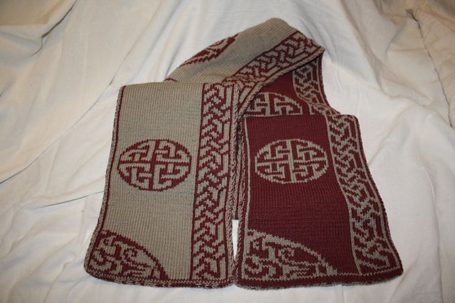 Free - Ravelry: Celtic Hooded Double Knit Scarf pattern by ...