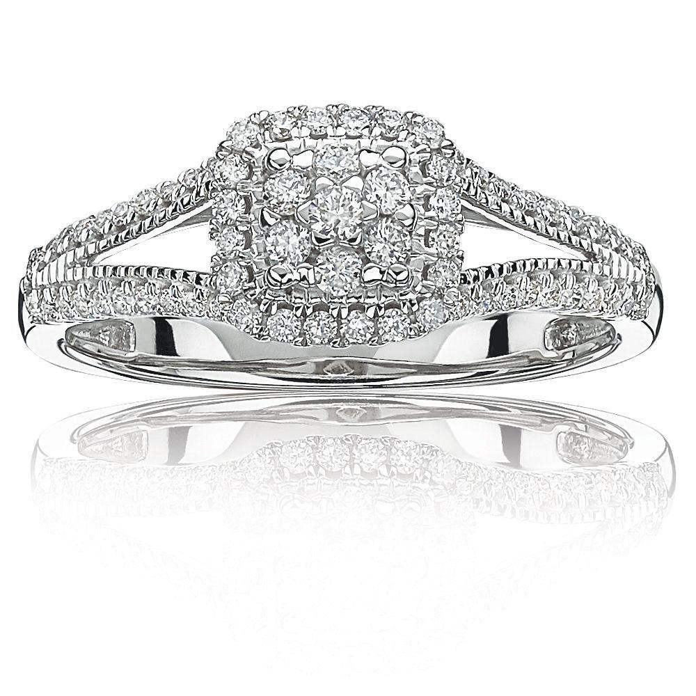 Diamond Halo Cluster Split Shank Promise Ring in 10k White