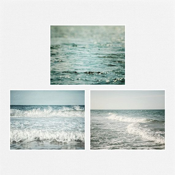 Beach Landscape Photography Set of 3 Prints, Pastel Blue, Soft Teal Ocean Art, 5x7 8x10 11x14, Seascape, Ocean Prints, Beach Decor.