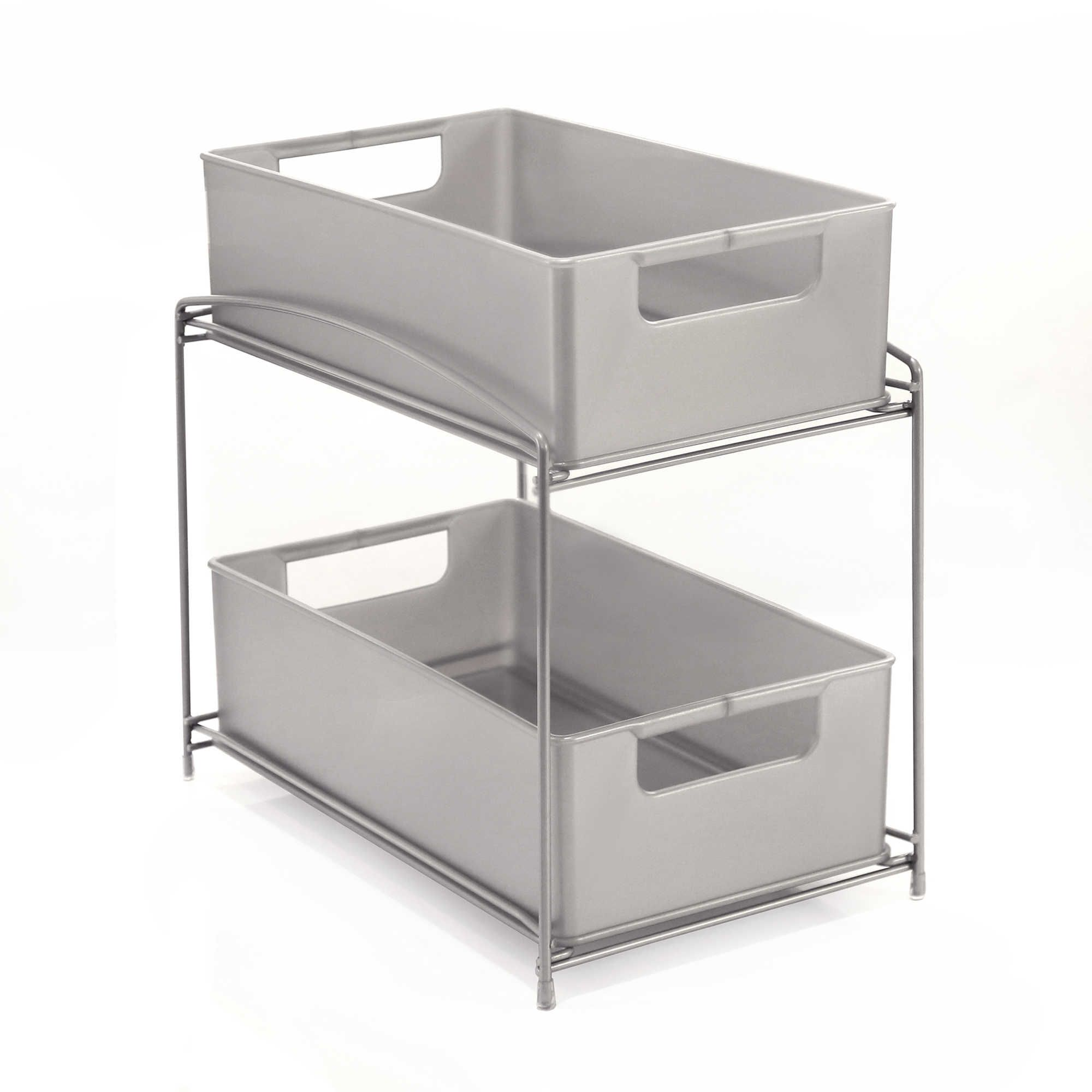 Uncategorized Sliding Basket Organizer two tier sliding under sink basket organizer 19 99 sku 17365142 17365142