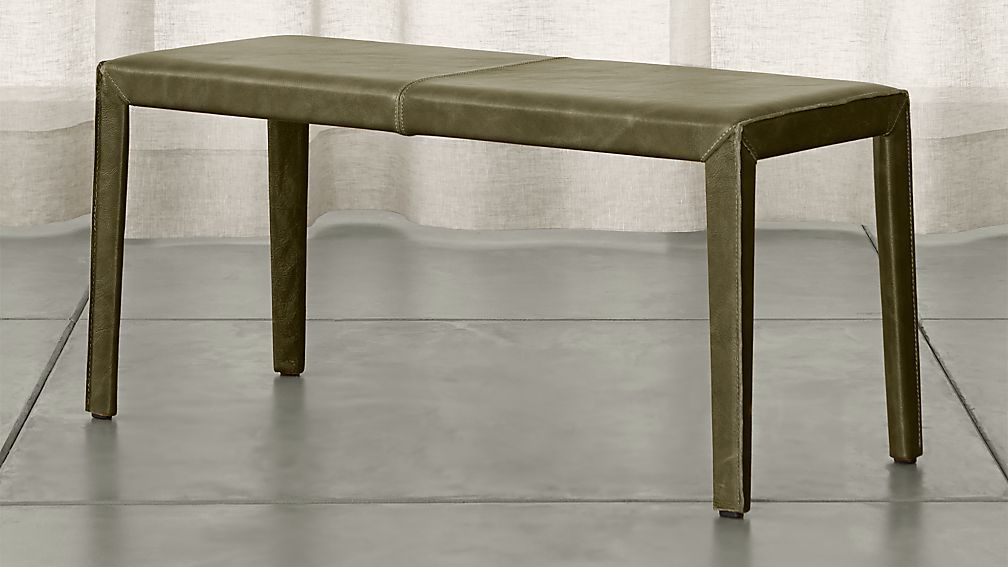 Folio Olive Green Top Grain Leather 40 Bench Top Grain Leather Living Room Leather Top Grain Leather Chairs
