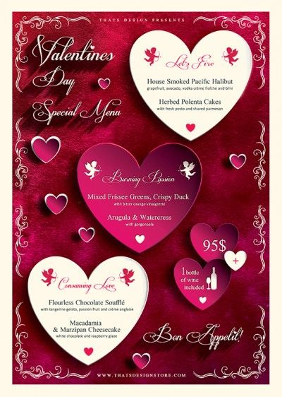 Valentines Day Flyer Template Psd Design for photoshop V1 Menu - valentines day menu template