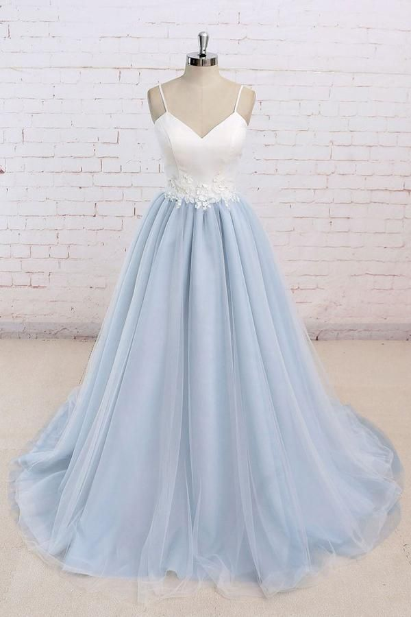 86d0b2558f Tulle Baby Blue Long Flower Prom Dress With White Top