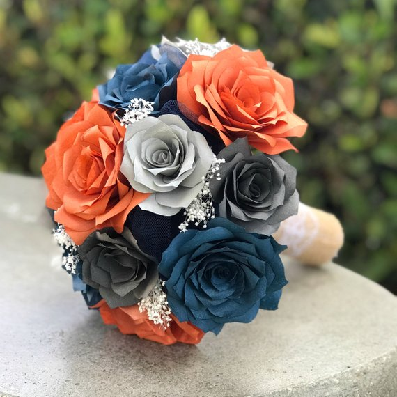 Wedding Bouquet In Burnt Orange Navy Blue And Shades Of