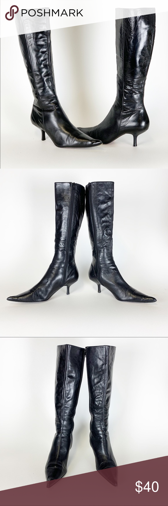 Leather boots, Kitten heel boots, Boots