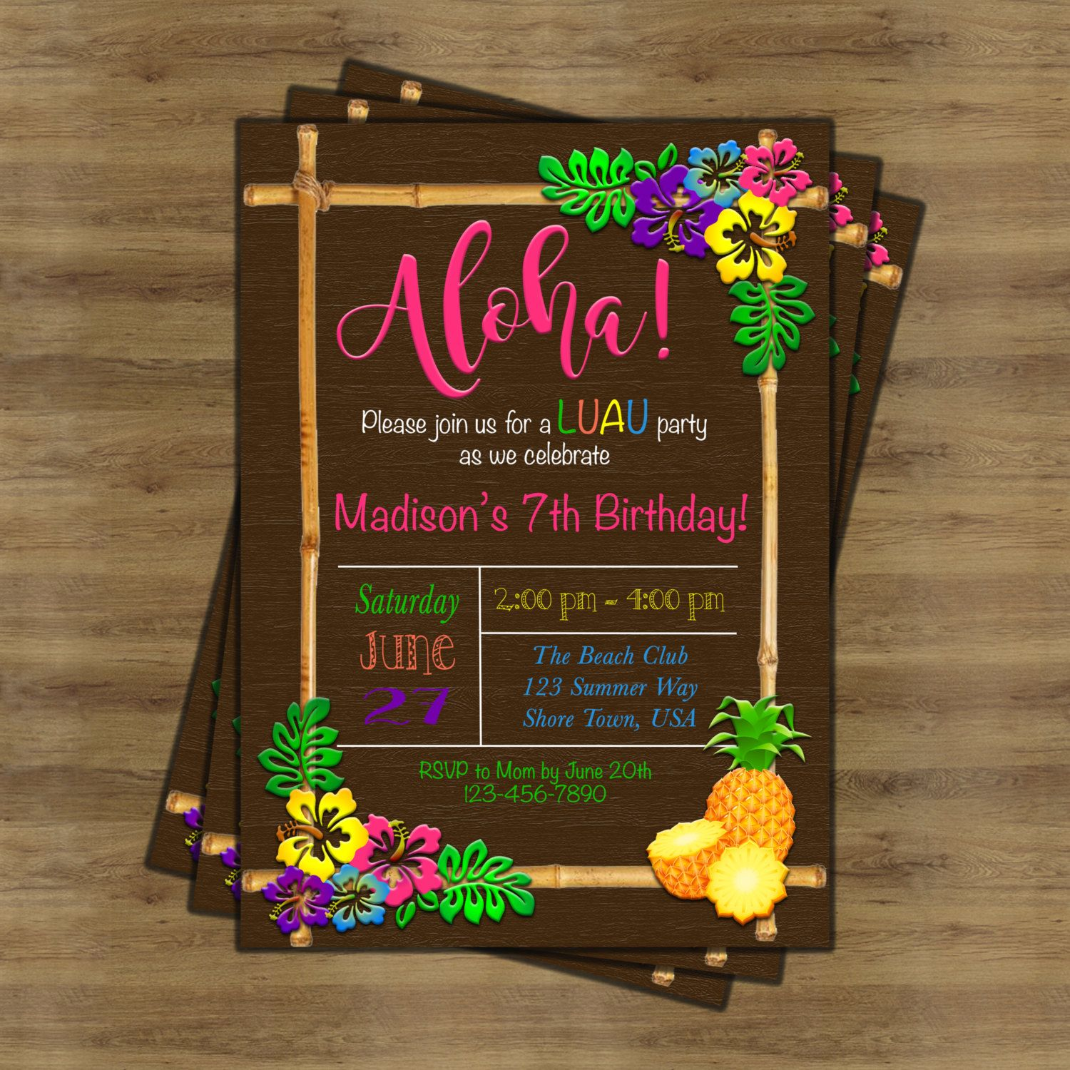 Luau Invitation; Luau Birthday Invitation; Hawaiian Invitation ...