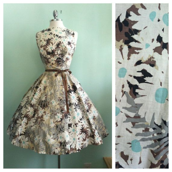 Floral Alex Colman Print Cotton 1950s Vintage Party Dress / Small Day Dress /  Size 4 on Etsy, $275.00