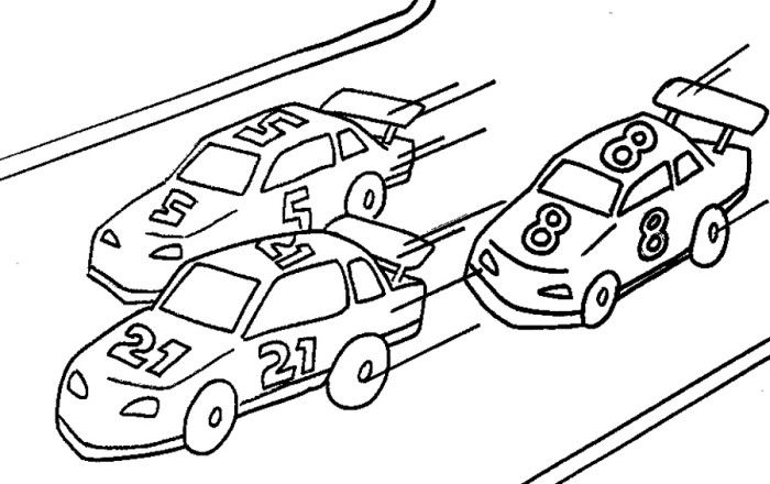 Three Car Race Track Coloring Page Kids Printable Coloring Pages