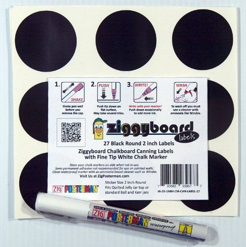 Ziggyboard Chalkboard 2 Inch Round Canning or Kitchen Labels with Fine Tip White Chalk Marker 27 Round Stickers by ImageAbility, http://www.amazon.com/dp/B00D3NN6G6/ref=cm_sw_r_pi_dp_L.ccsb0FWZD4N