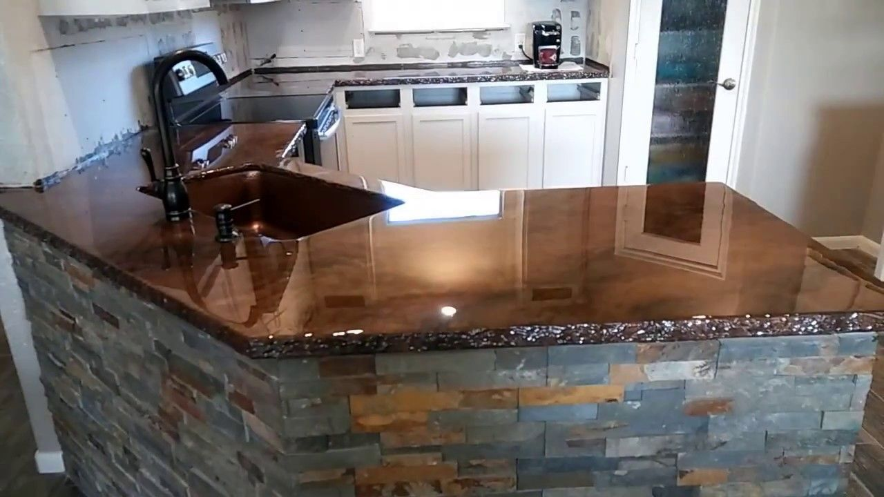Stunning Epoxy Countertops With Chiseled Stone Edge Youtube