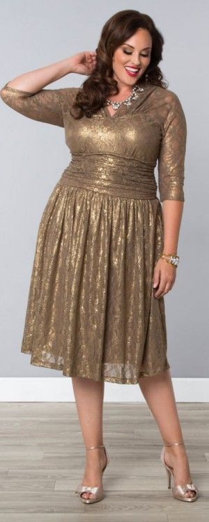 Tea Length Gold Metallic Maven Lace Dress, Plus Size for Mothers of ...