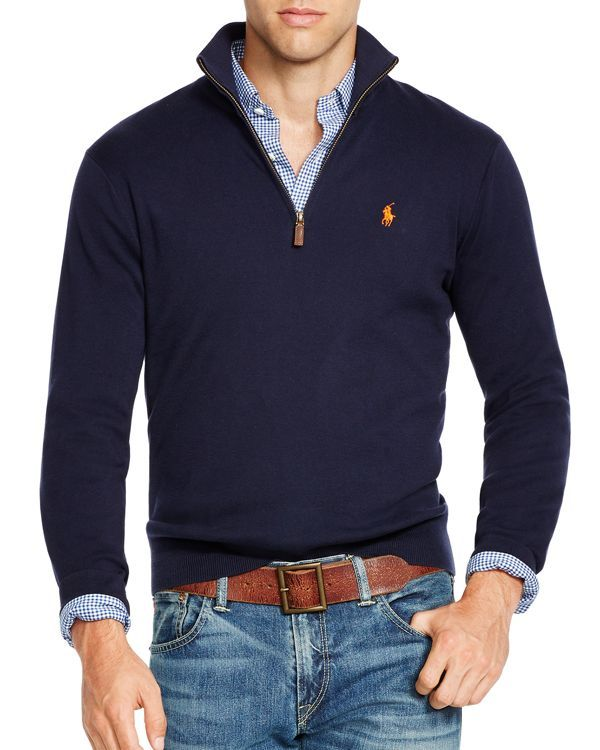 Polo Ralph Lauren Half Zip Pima Sweater Men Bloomingdale S Sweater Outfits Men Mens Smart Casual Outfits Mens Fashion Sweaters