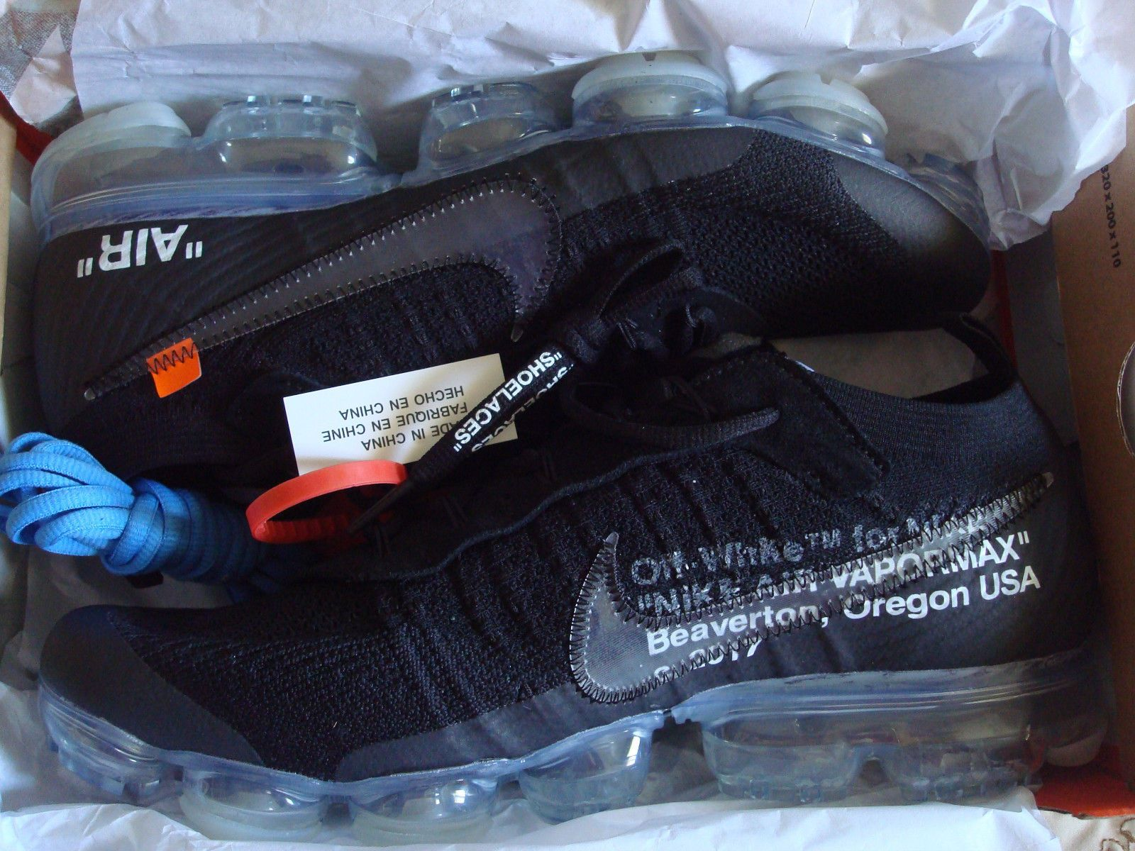65f124a28da196 Nike Air VaporMax Off White The Ten 10 FK Size 8 Black Clear Total Orange