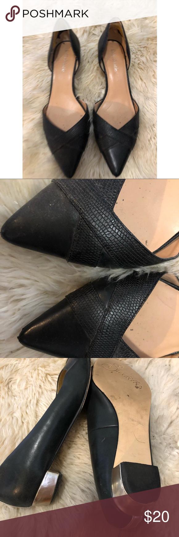 Kelly Katie Black Pointy Kitten Heel Flats 8 Worn Many Times Shoes Some Wear But Still Look Rather New Kelly Katie Shoes Heels Shoes Heels Kitten Heels Fashion