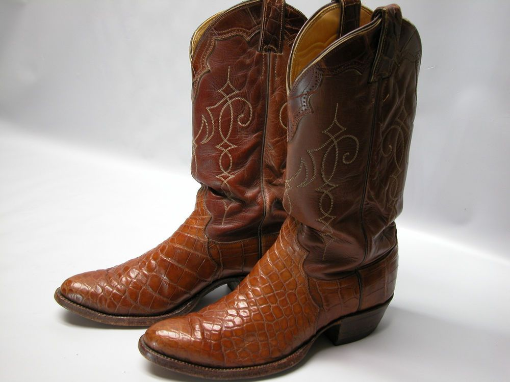 2aa5361ae69 Vintage Justin Mens Cowboy Boots 9710 Sz 8.5D Reptile Maple Leather ...