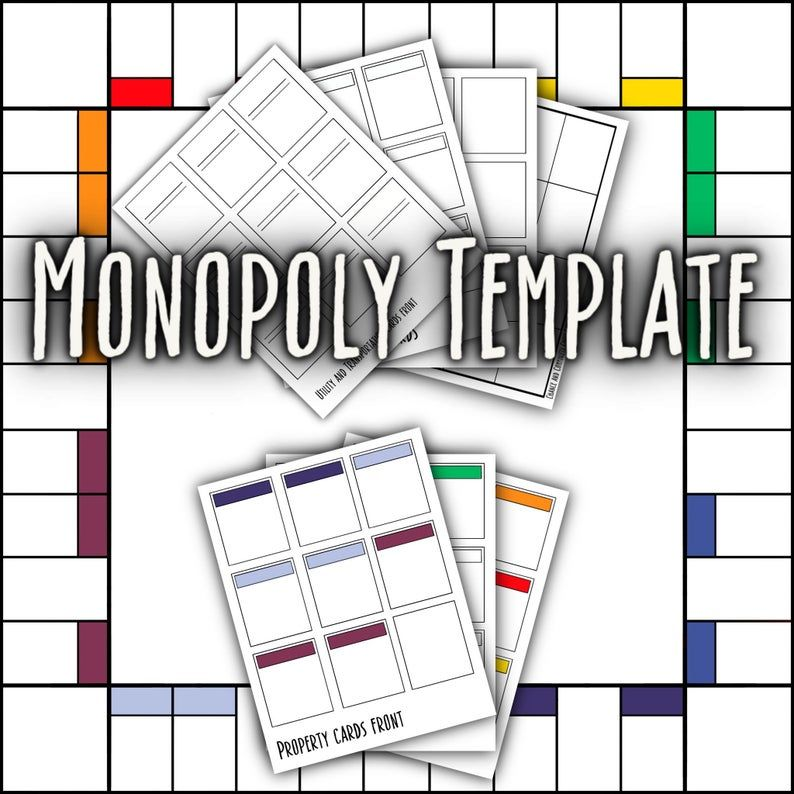 Monopoly Board Game Template Digital Download Etsy