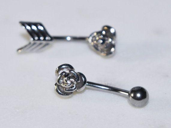 Rose or Arrow Belly Ring in Silver/Steel 14g by BodyJewelryEnvy