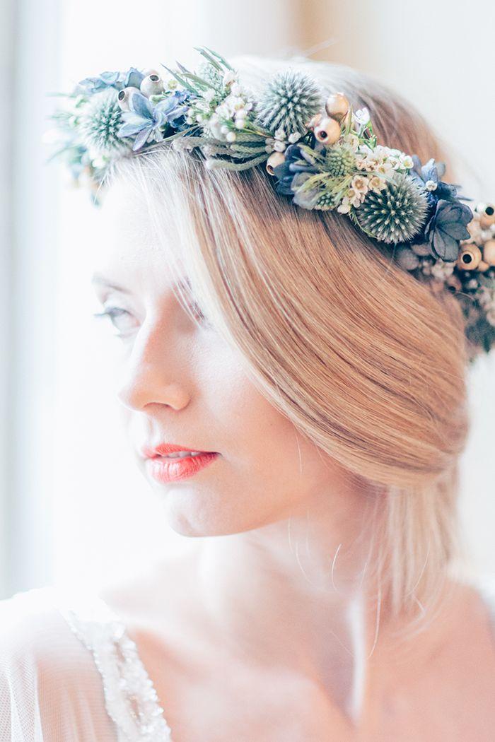 Blau goldene Hochzeitsinspiration  Etwas Blaues