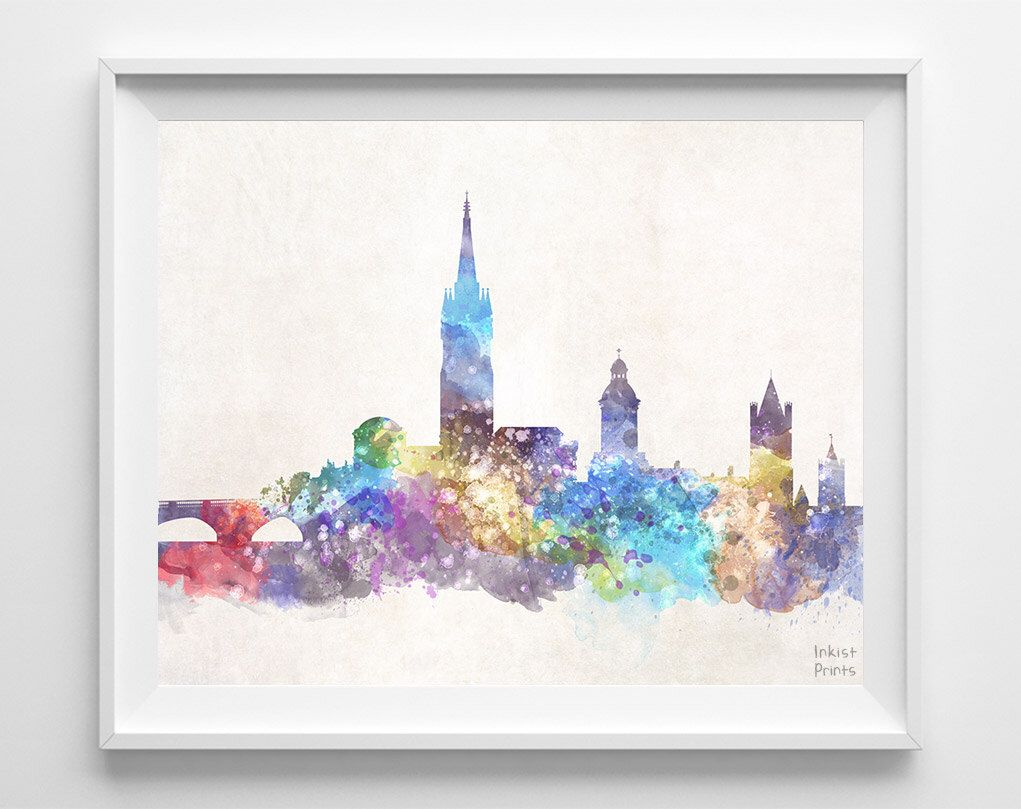 Co color art printing anchorage alaska - Dublin Skyline Print Ireland Poster Watercolor Painting Giclee Art Cityscape City Painting Wall Art Home Decor Fathers Day Gift