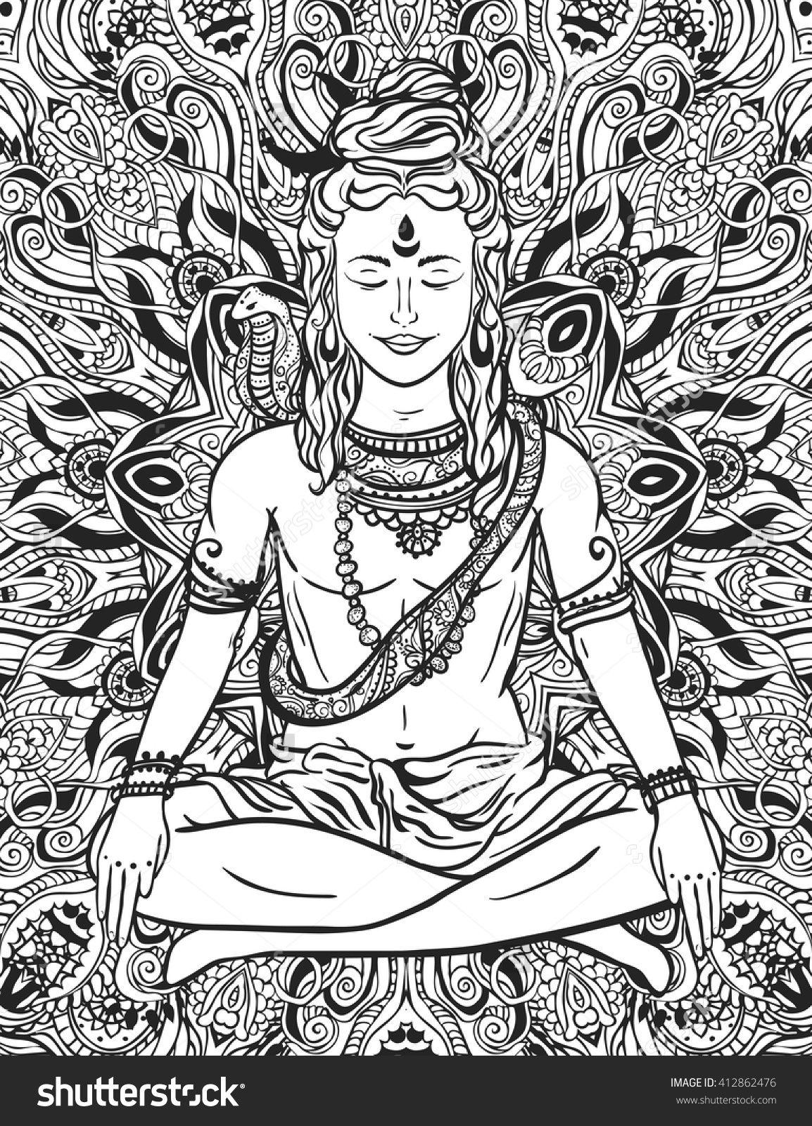 ornament beautiful card with god shiva illustration of happy maha
