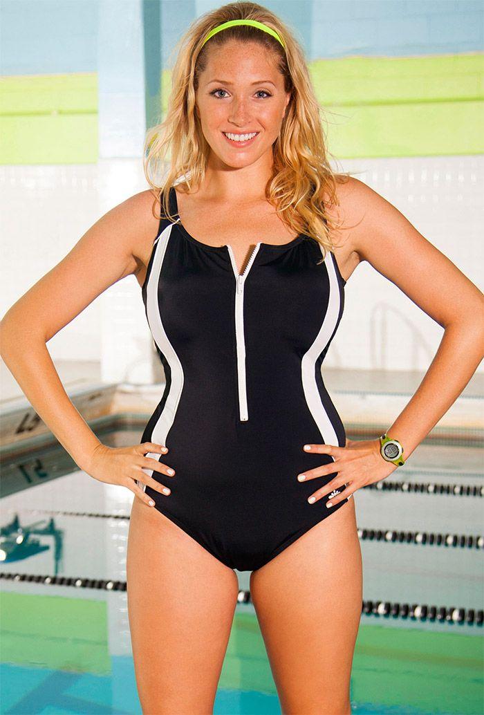 df66f55b1b7 Aquabelle Black Zip Front Plus Size Swimsuit | Summer Fashion's ...