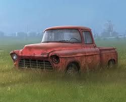 Old Rusty Trucks Or Cars Sitting Out In Fields Behind Houses With