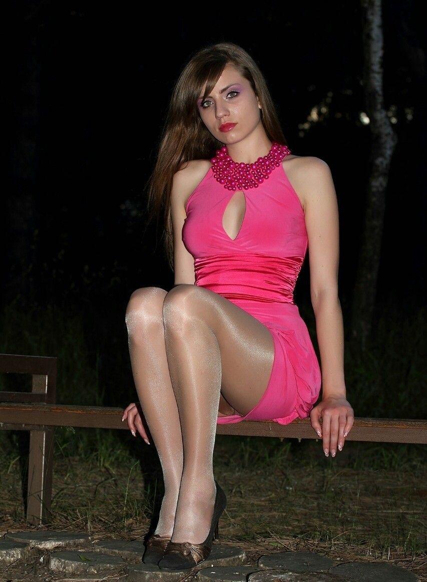 Shiny pantyhose and pink dress | Pink Dress