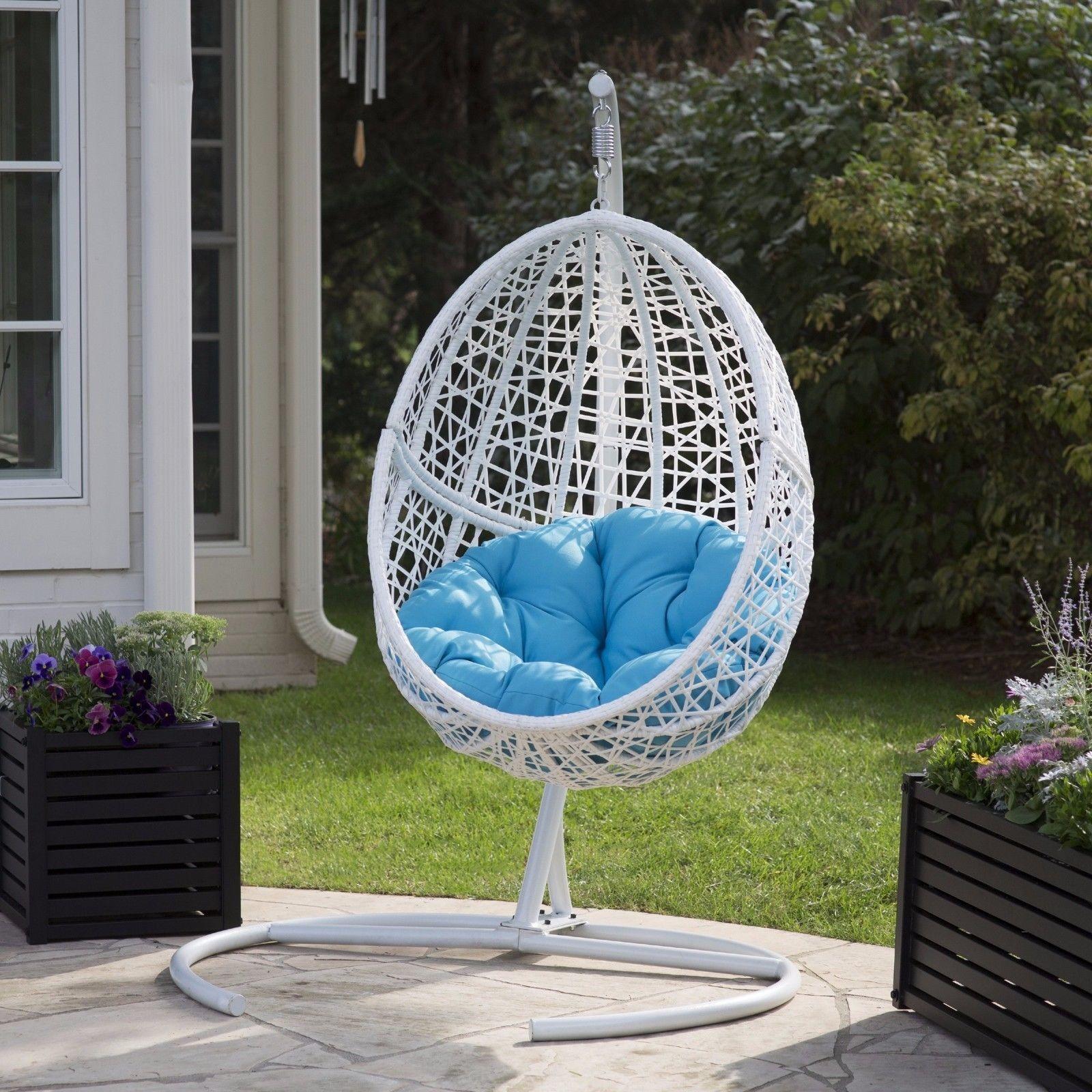 Swinging Egg Chair Wicker White W Blue Cushion White