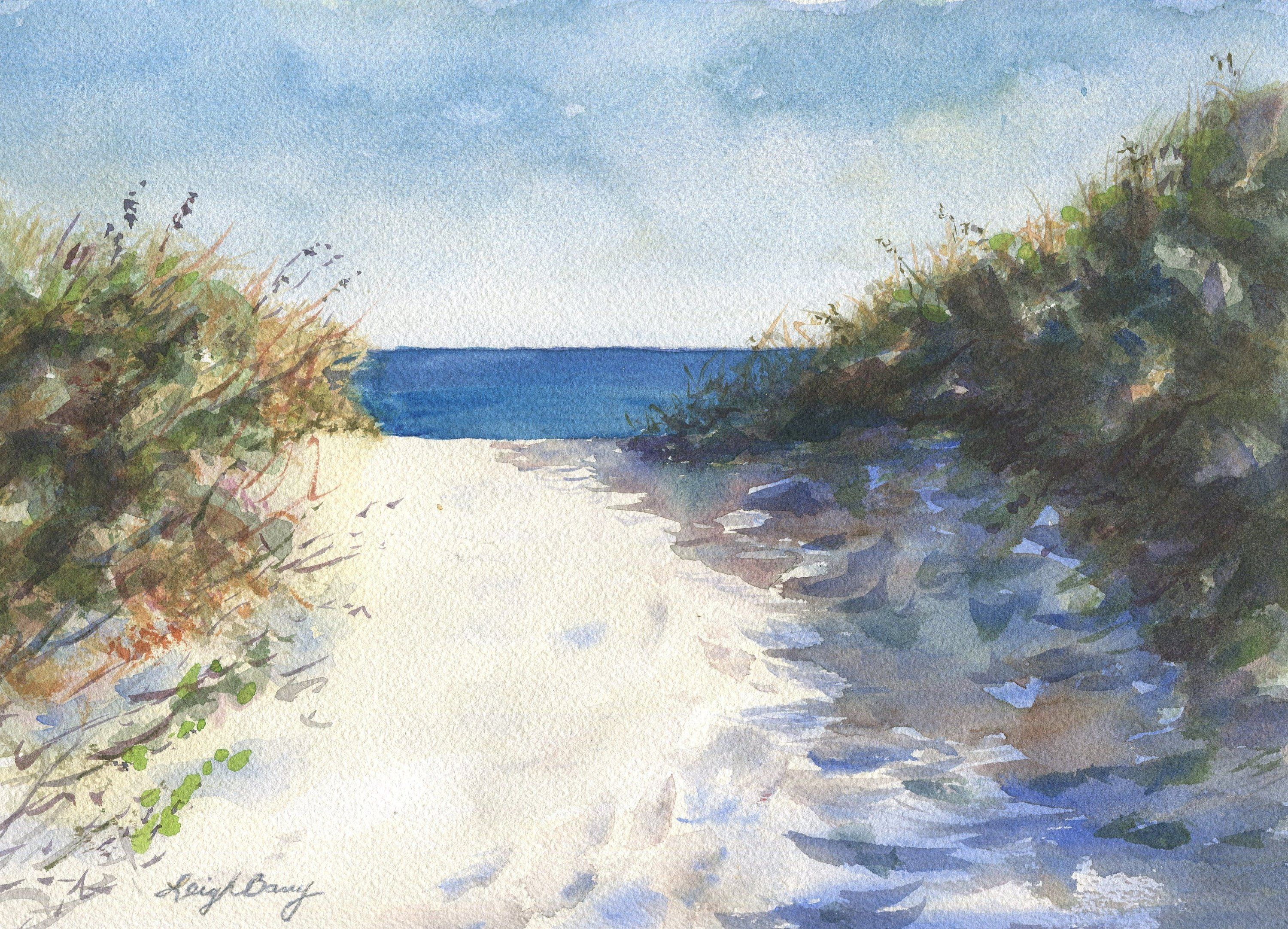 On The Path Watercolor Painting Ltd Edition Beach Decor Home