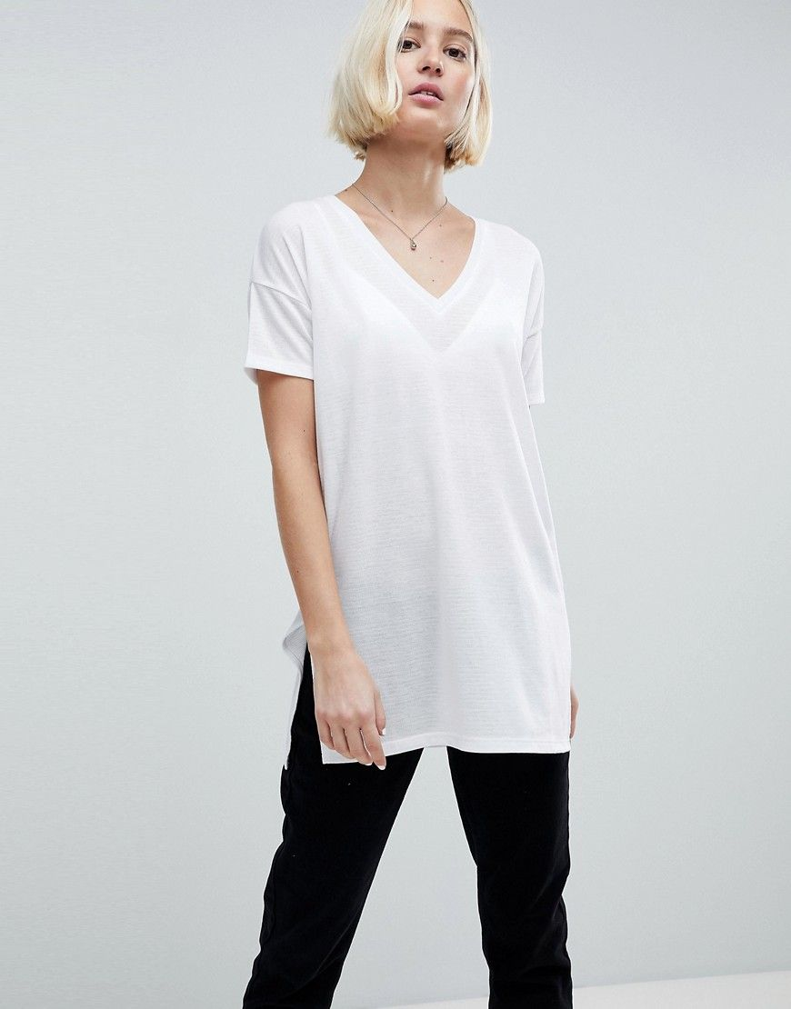 c671eb98609f DESIGN oversized longline t-shirt with v-neck in lightweight rib ...