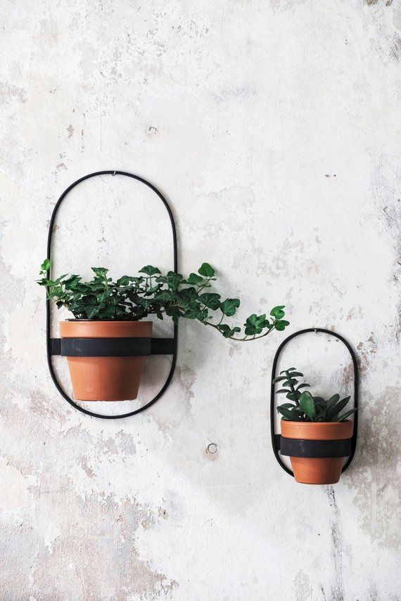2 Wall Planters Geometric Shape Planter Black Hanging Planter