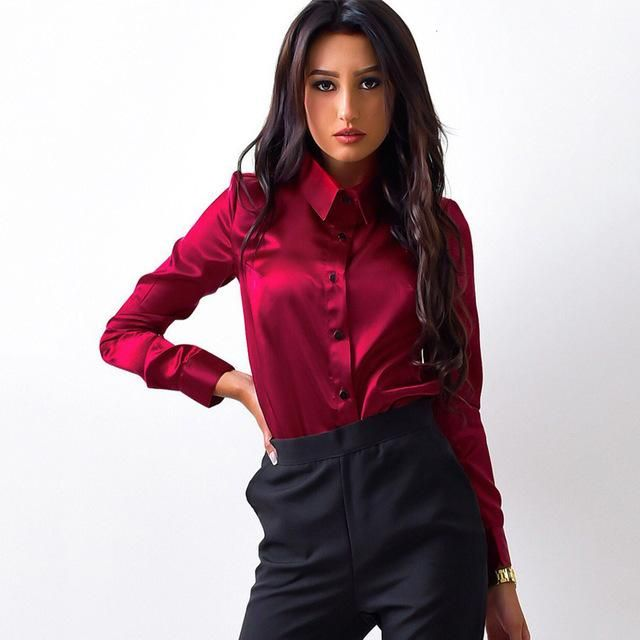 1c8f57a38bf188 MOARCHO Women silk satin blouse button lapel long sleeve shirts ladies  office work elegant female Top high quality blusa