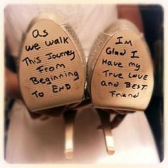 groom writes on brides shoes - Google Search