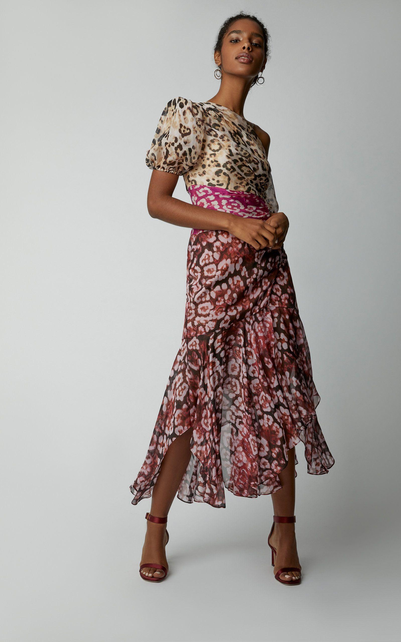 42fbfa29fb Jaylah One-Shoulder Printed Silk-Chiffon Midi Dress by AMUR Now Available  on Moda Operandi