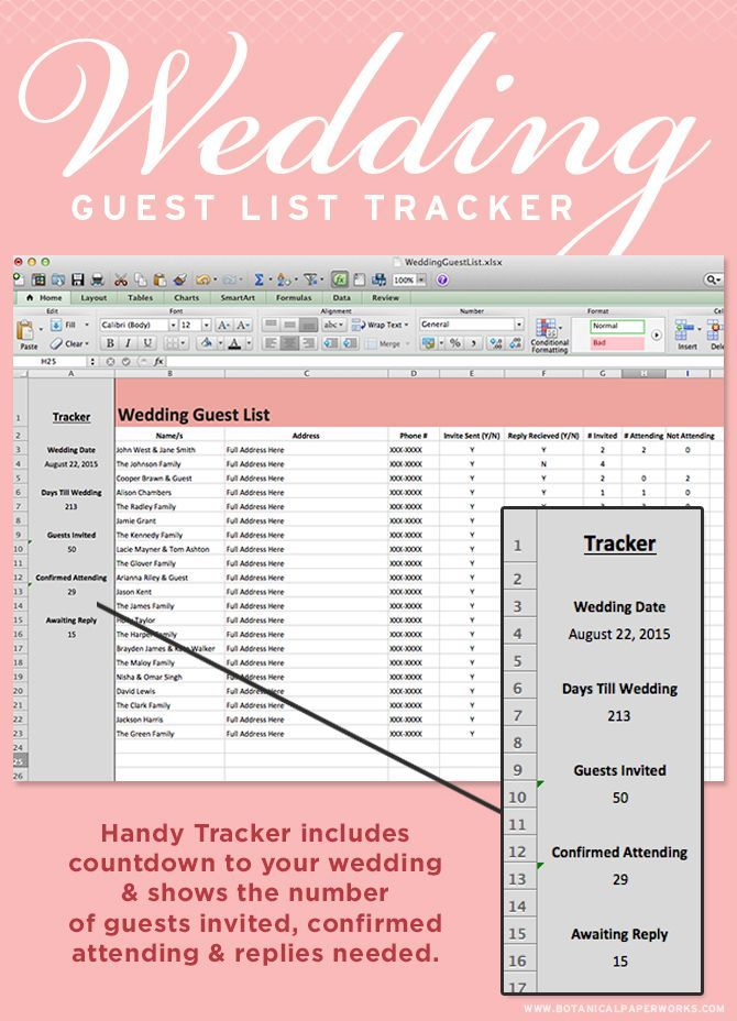 Download this Wedding Guest List Tracker to keep all your names - wedding spreadsheet template