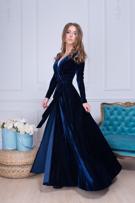 navy blau wickelkleid samt wickeln lange Ärmel kleid boho