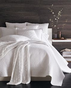 SFERRA Delancey quilt set is available in crisp white, or the sandy tones of Tan and Ivory.