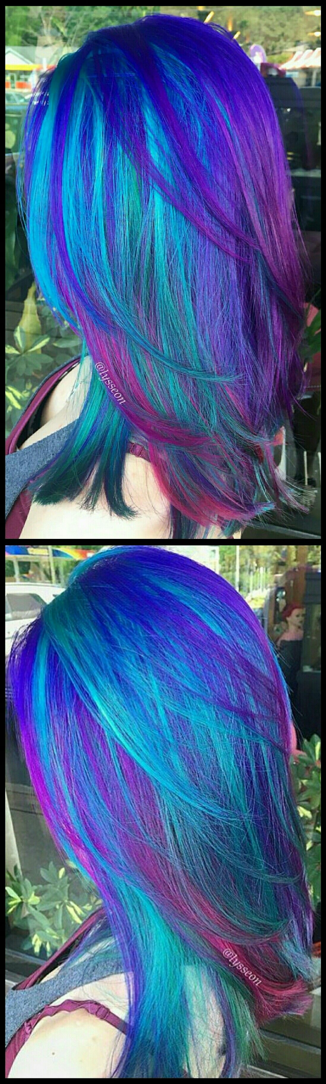 Electric blue purple dyed hair by lysseon