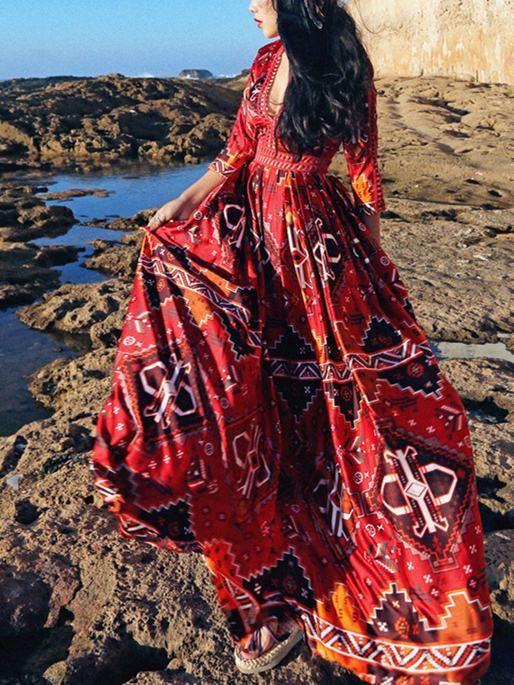 18db5aab9b5 Pretty Red Bohemia 3 4 Sleeve Deep V Neck Maxi Dress – oshoplive ...