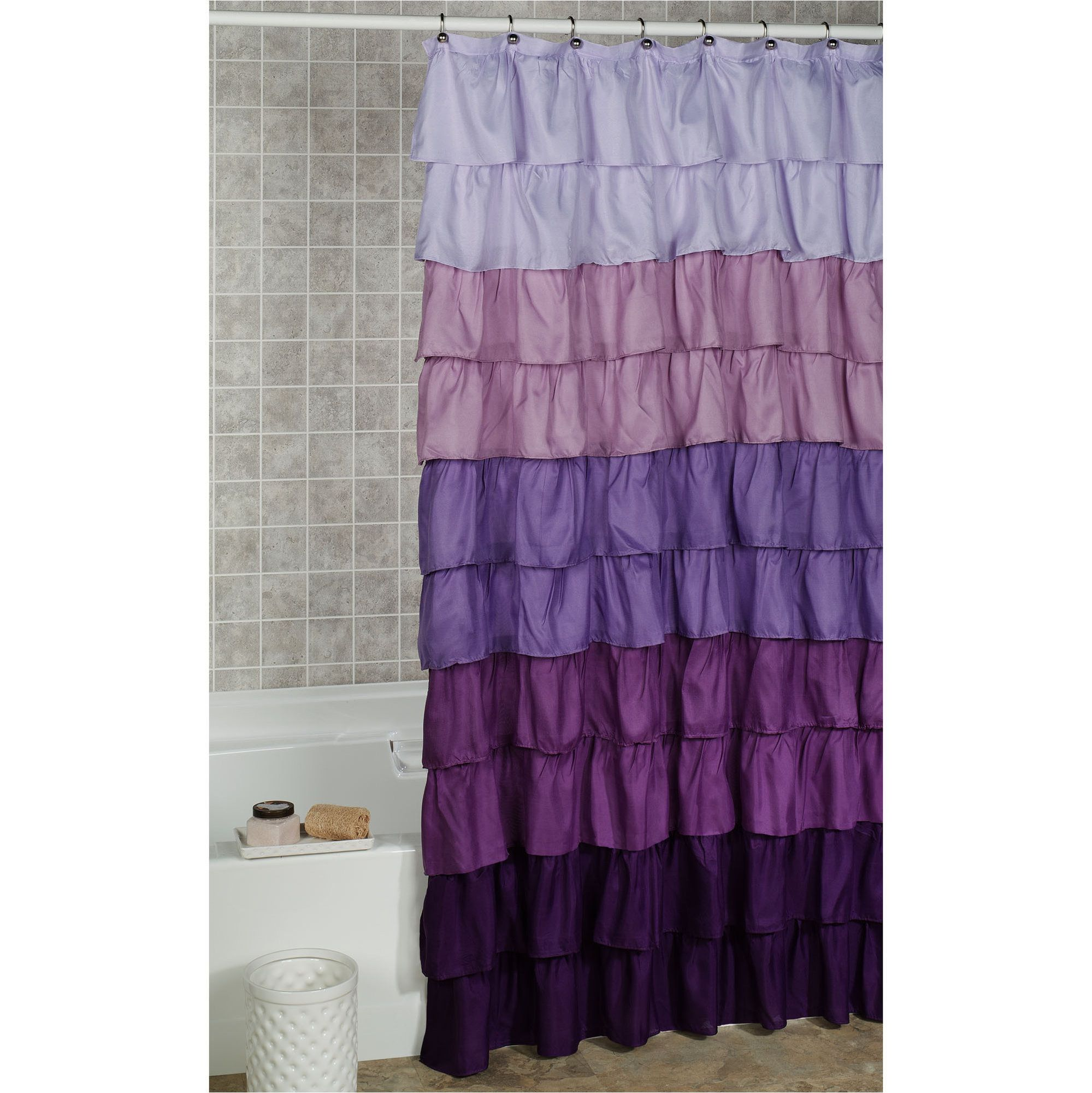 Maribella Lavender Ombre Ruffled Shower Curtain | Ruffle shower ...