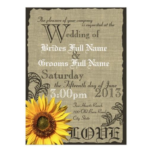 Western Sunflower Rustic Country Wedding Card Sunflower Wedding - Sunflower wedding invitations templates