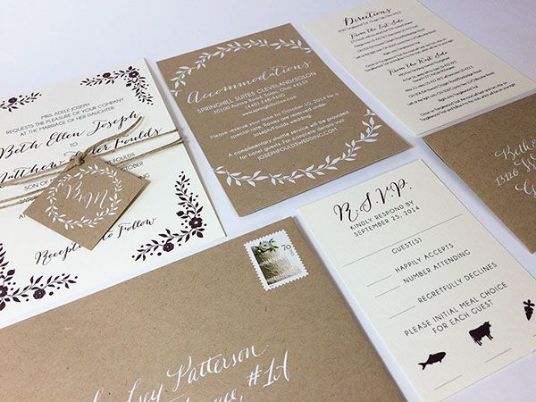 Boho chic wedding invitation. Screen Printed white ink on kraft paper. Also, hand calligraphy on the envelopes. Digital print on cream paper.
