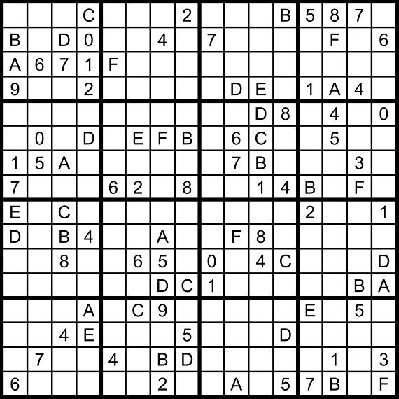 picture relating to Mega Sudoku Printable named Hexadoku sudoku 16x16 16x16 sudoku sudoku print mega