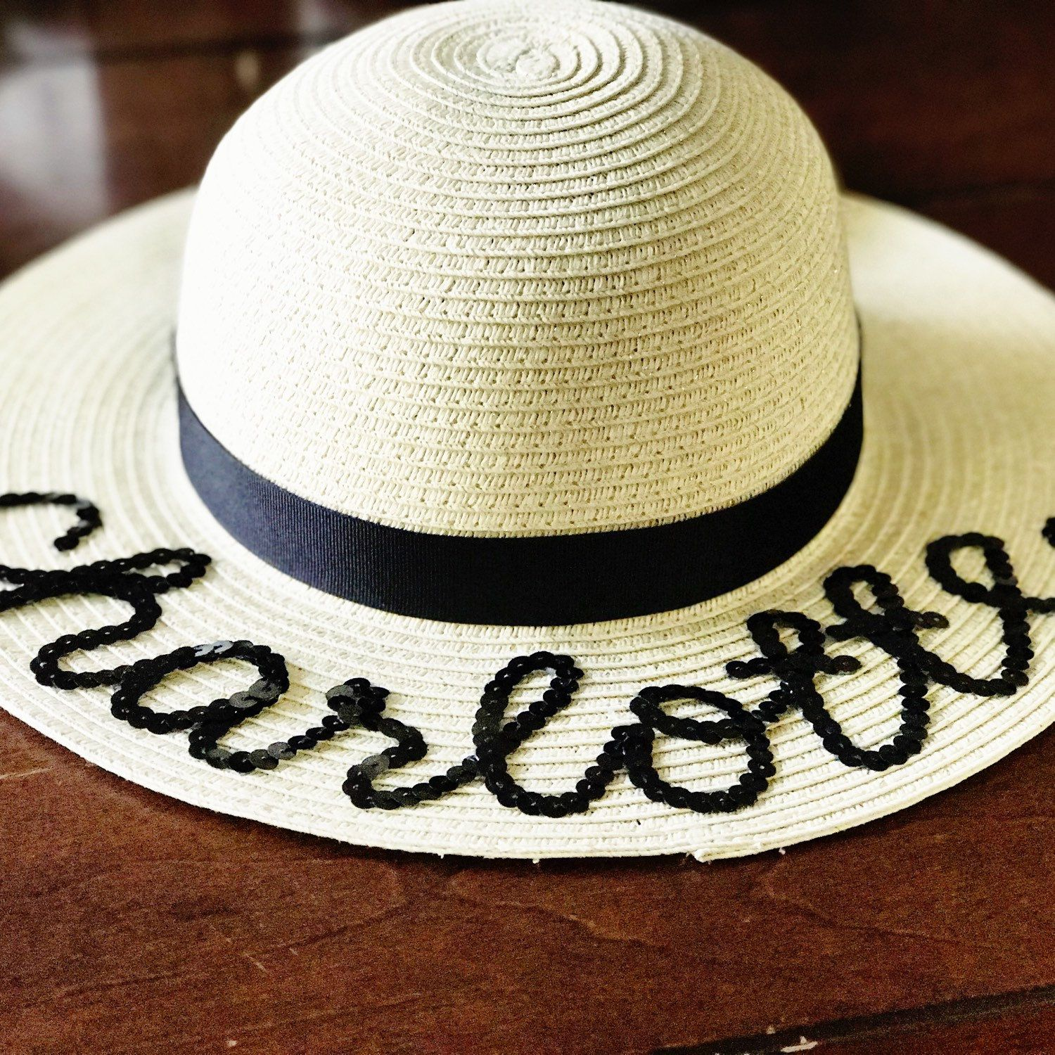Custom Personalized Sequin Floppy Sun Hat All The Cute Girl Names Personalize Your Hats With Names Phrases Baby Sun Hat Baby Summer Hat Hat With Name