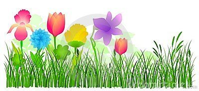 Flowers in grass vector