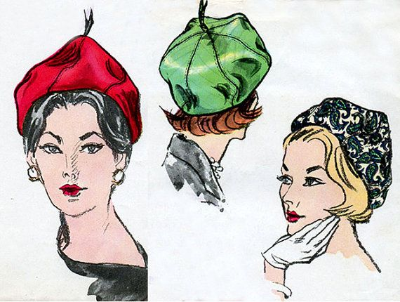1960s Sally Victor Beret Pattern Vogue 5641 by BessieAndMaive
