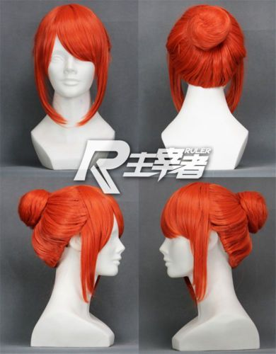 Photo of Details about Gintama Kagura Pumpkin Orange Anime Bun Short Costume Cosplay Wig Free Ship +CA…